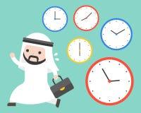 Hombre de negocios árabe que corre sobre horas punta y relojes stock de ilustración