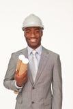 Hombre de negocios étnico atractivo derecho Fotografía de archivo libre de regalías