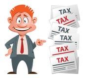 Hombre de negocios de Оptimistic y sus impuestos Imagen de archivo