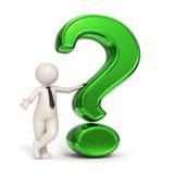 hombre de negocios 3d - signo de interrogación verde Imagenes de archivo