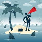 Hombre de negocios abstracto Calls para la ayuda en una isla. Imagen de archivo