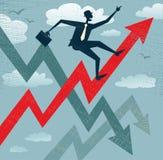 Hombre de negocios abstracto Climbs que las ventas trazan. Imagen de archivo libre de regalías