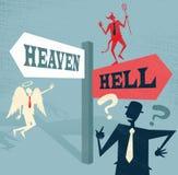 Hombre de negocios abstracto en el poste indicador del cielo y del infierno Fotografía de archivo