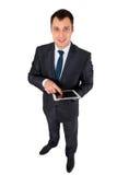 Hombre de negocios acertado aislado en blanco Fotografía de archivo libre de regalías
