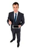 Hombre de negocios acertado aislado en blanco Fotos de archivo