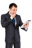 Hombre de negocios acertado aislado en blanco Imágenes de archivo libres de regalías