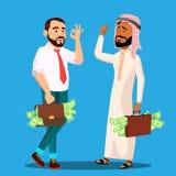 Hombre de negocios acertado With Briefcase Full del dinero en manos, vector árabe, europeo Ilustración aislada ilustración del vector