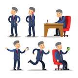 Hombre de negocios acertado Cartoon Set Hombre con el dinero Fotografía de archivo