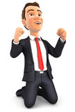 hombre de negocios acertado 3d en sus rodillas stock de ilustración