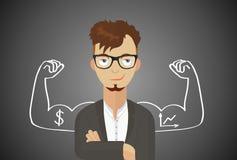 Hombre de negocios acertado, director financiero, encargado, diseño plano, arte del vector Fotografía de archivo libre de regalías