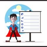 Hombre de negocios acertado en una capa roja Imagenes de archivo