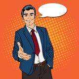 Hombre de negocios acertado Handshake Sociedad del asunto Arte pop ilustración del vector