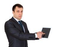 Hombre de negocios acertado joven en un traje de negocios, aislado en blanco Imagen de archivo libre de regalías