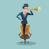 Hombre de negocios acertado Looking Through Spyglass Perspectiva del negocio libre illustration