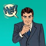 Hombre de negocios acertado Pointing Finger en usted Arte pop ilustración del vector
