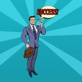 Hombre de negocios acertado Pop Art Banner Imagen de archivo