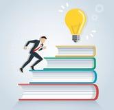 Hombre de negocios acertado que corre en el ejemplo del vector del diseño del icono de los libros, conceptos de la educación Foto de archivo libre de regalías