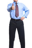 Hombre de negocios acertado que muestra el pulgar para arriba Fotografía de archivo
