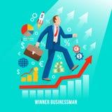Hombre de negocios acertado Symbolic Flat Poster Imagen de archivo libre de regalías