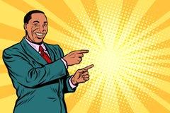 Hombre de negocios africano que señala el finger en el lado ilustración del vector