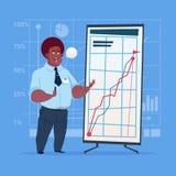 Hombre de negocios afroamericano con el gráfico financiero de la presentación de la reunión de reflexión de Flip Chart Seminar Tr Foto de archivo libre de regalías
