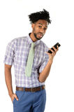 Hombre de negocios afroamericano Using Cell Phone Fotografía de archivo libre de regalías