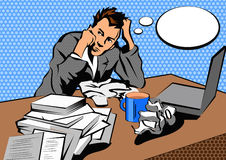 Hombre de negocios agotador en oficina con demasiados Imagenes de archivo