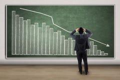 Hombre de negocios agotador que mira un gráfico decreciente Imagenes de archivo