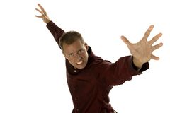 Hombre de negocios agresivo emocionado Imagen de archivo libre de regalías