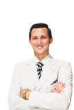 Hombre de negocios aislado en el fondo blanco Fotografía de archivo