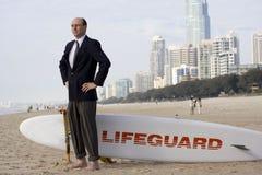 Hombre de negocios al rescate Fotos de archivo