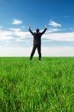 Hombre de negocios alegre que se coloca en la hierba verde Fotos de archivo