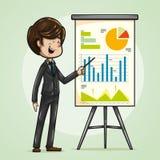 Hombre de negocios alegre y divertido que señala en un tablero con los gráficos stock de ilustración