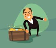 Hombre de negocios alrededor de la caja con las monedas de oro y las piedras preciosas Foto de archivo
