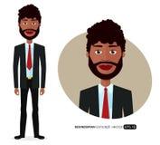 Hombre de negocios americano con el ejemplo plano natural del vector de la historieta del pelo rizado aislado en blanco libre illustration