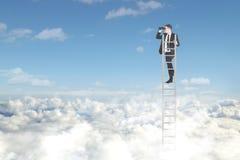 Hombre de negocios americano con la escalera y los prismáticos Imagen de archivo