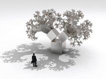 Hombre de negocios antes del árbol del fractal Foto de archivo libre de regalías