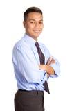 Hombre de negocios asiático en camisa azul, fotos de archivo