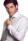 Hombre de negocios atractivo con el lazo verde Imagen de archivo libre de regalías
