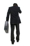 Hombre de negocios atractivo en juego rayado del Pin y sombrero que se van Foto de archivo