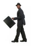 Hombre de negocios atractivo en juego rayado y sombrero del Pin Fotos de archivo libres de regalías