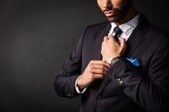 Hombre de negocios atractivo que fija el suyo lazo Imagen de archivo