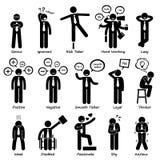 Hombre de negocios Attitude Personalities Characters Cliparts Foto de archivo libre de regalías