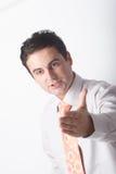 Hombre de negocios blanco que señala en alguien con la mano Fotos de archivo