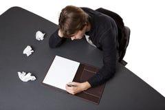Hombre de negocios - bloque de los programas de escritura Fotos de archivo libres de regalías