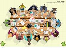 Hombre de negocios Brainstorming Analysis del trabajo del equipo del vector del plan de márketing Imagen de archivo
