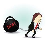 Hombre de negocios cargado con el ejemplo de la deuda Foto de archivo libre de regalías