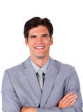Hombre de negocios carismático con los brazos plegables Fotografía de archivo libre de regalías