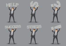Hombre de negocios Carrying Text y juego de caracteres del vector de los símbolos Foto de archivo libre de regalías