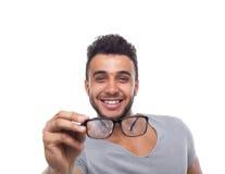 Hombre de negocios casual de los jóvenes de los vidrios del ojo del control del hombre Imagenes de archivo